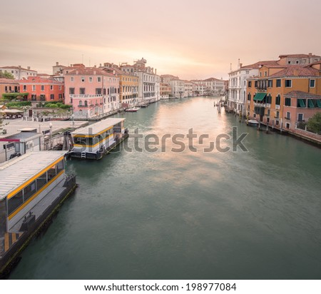 View to the grand canal and Museum of Academy from the Academy bridge (Ponte dell'Accademia) in Venice, Italy - stock photo