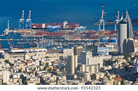 view to the Haifa port in Israel - stock photo