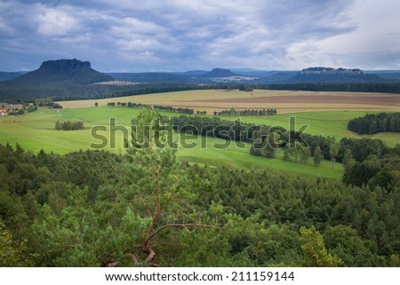 View to the Lilienstein in Saxony