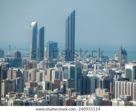 View to the modern city of Abu Dhabi, United Arab Emirates