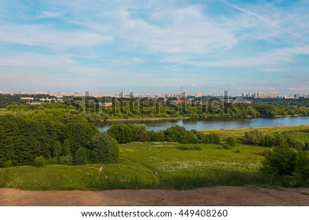 View to the Moscow river from hills in Kolomenskoe park