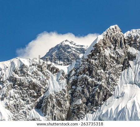 View to the mount Everest (8848 m) from Kala Patthar slope - Nepal, Himalayas - stock photo