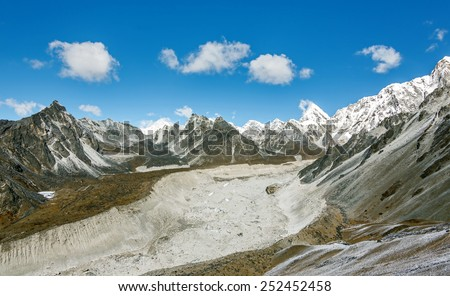 View to the Nuptse Glacier from the top of the Chhukhung Ri - Everest region, Nepal, Himalayas - stock photo