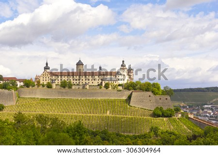 View to the old Marienberg Fortress, on the left bank of the Main River in Wuerzburg, in the Franconia region of Bavaria, Germany.  Built in Renaissance and Baroque between 16th and 18th centuries.  - stock photo