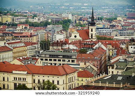 View to the red roofs of  Brno city, Czech Republic