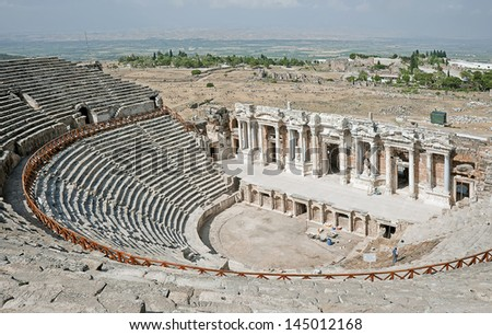 View to the ruins of theater in ancient Hierapolis, Turkey - stock photo