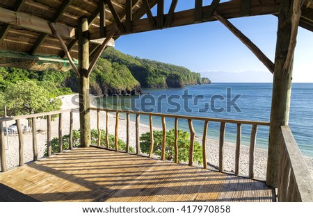 View to the sea from pavilion on the beach - stock photo