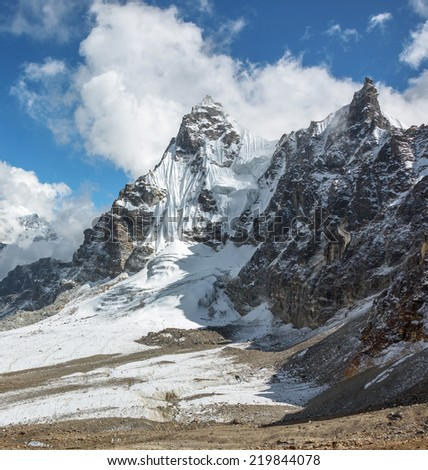 View to the South from the Renjo Pass (5360 m) - Nepal, Himalayas - stock photo