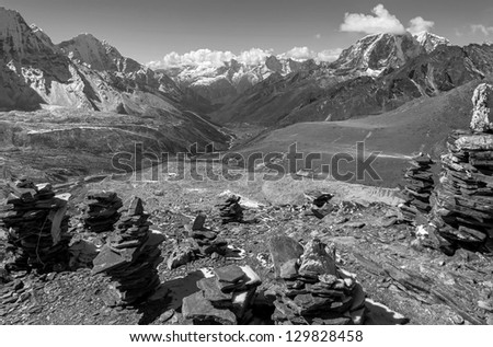 View to the South from the top of the Chhukhung Ri - Everest region, Nepal, Himalayas (black and white) - stock photo