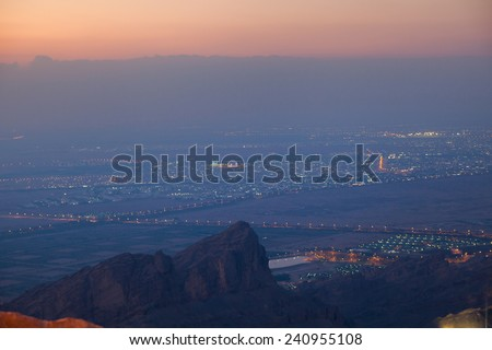 View to the town of Al Ain from the hills of Jebel Hafeet. United Arab Emirates.