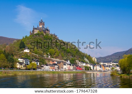 View to the town of Cochem, Germany. - stock photo