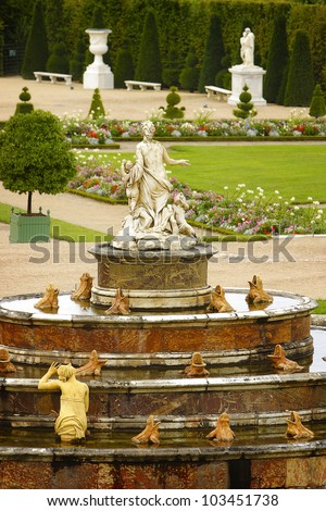 View to the Versailles gardens - stock photo