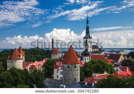 View to theToompea castle and church in the center of Tallinn, Estonia in bright clear weather