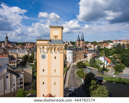 View to tower Kunstturm in Altenburg Thuringia