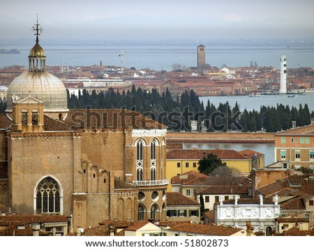 View to Venice lagoon from St Mark's Campanile