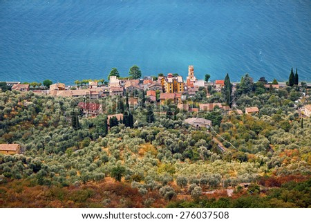 view to village pai and olive grove, lakeside of garda lake, italy - stock photo