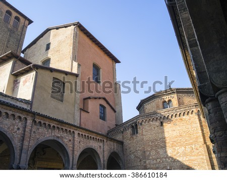 view to wall and dome of old church in Italy - stock photo