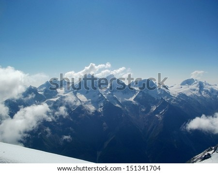 View to Wallis Alps from slope of Bishorn 4 153 m, Switzerland  - stock photo