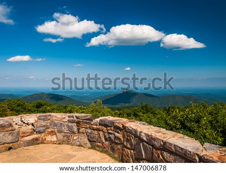 View toward Old Rag from the Observation Deck on Hawksbill Summit, Shenandoah National Park, Virginia. - stock photo