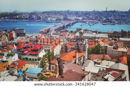 View towards Blu Mosque from the Galata Tower, Istanbul, Turkey