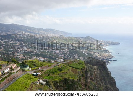 View towards Camara de Lobos and Funchal from Cabo Girao in Madeira, Portugal. (one of the highest cliffs in the world 590 metres)