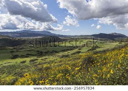 View towards Newbury Park from Wildwood Park in the Los Angeles suburb of Thousand Oaks, California. - stock photo