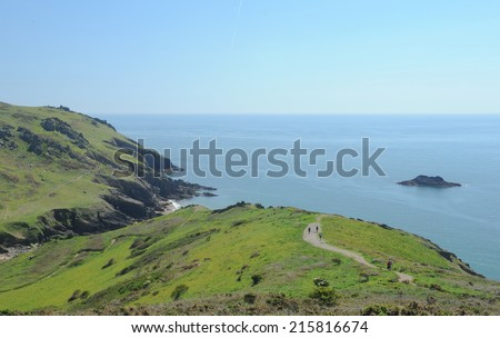 View towards Soar Mill Cove on the South West Coastal Path in Devon, England, UK - stock photo