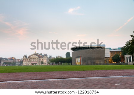 View towards the renewed Van Gogh museum on the museum square in Amsterdam, the Netherlands - stock photo