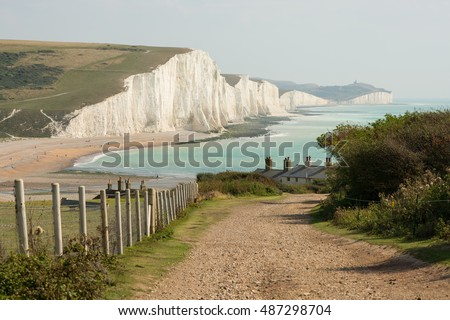 View towards the Seven Sisters chalk cliffs and Beachy Head from Seaford Head. East Sussex, England