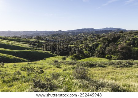 View towards West Hills and Woodland Hills in the San Fernando Valley region of Los Angeles, California. - stock photo