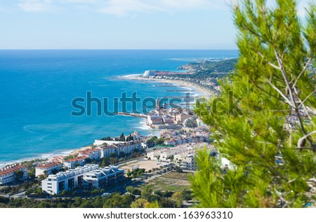 view towrads Sitges from natural park Garraf