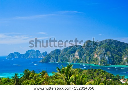 View tropical island with resorts - Phi-Phi island, Krabi Provin - stock photo