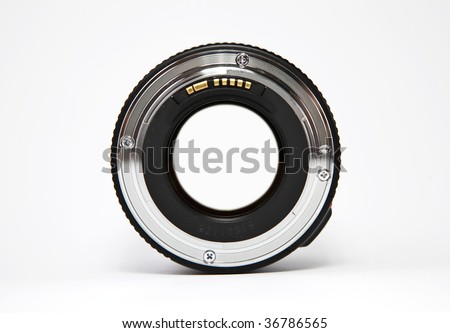 View trough a photo camera lens - stock photo