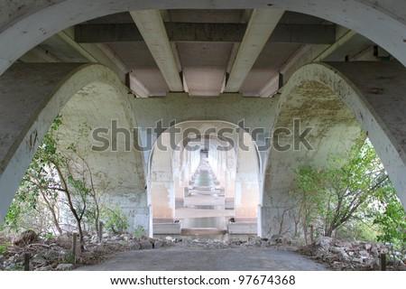 View under the bridge - stock photo