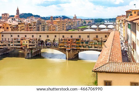 View up the Arno River in Florence, Tuscany, Italy.