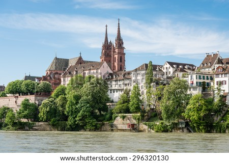 View up to the cityscape of Basel with its famous red sandstone cathedral. - stock photo