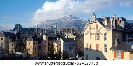 View upon Chambery city, roofs, and mountains of Nivolet, in Savoy, France