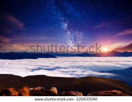 View Val Gardena valley under starry light. National Park Odle Geisler. Dolomites, South Tyrol. Location Ortisei, S. Cristina. Italy, Europe. Dramatic scene. Astrophotography. Beauty world. - stock photo