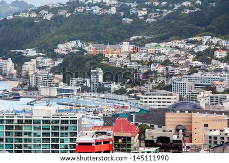 View Wellington Harbour from the observatory in Wellington, New Zealand - stock photo