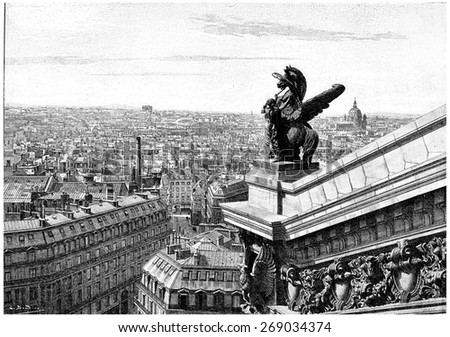 View west of Paris, taken from the top of the opera, vintage engraved illustration. Paris - Auguste VITU  1890. - stock photo