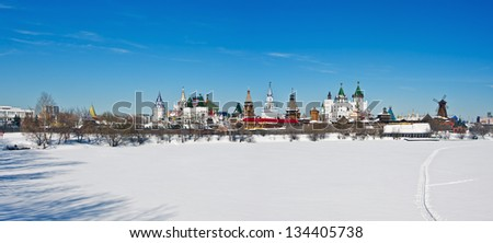 view winter Izmailovo Kremlin in Moscow, Russia - stock photo
