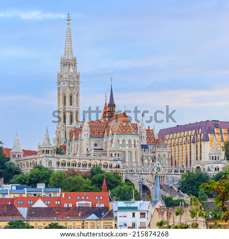 View with Matthias Church in Budapest, Hungary - stock photo