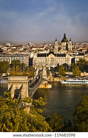 View with the Chain Bridge, Basilica, River Danube from the Buda Castle in Budapest. Sightseeing in Hungary. - stock photo