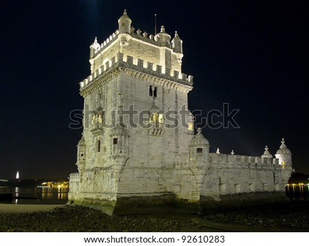 Viewed at night, Belem Tower, or the Tower of St. Vincent, was the starting point for many voyages of discovery. Built in 1515 as a fortress to guard Lisbon's harbor, it is a symbol of Portugal. - stock photo