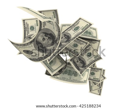 Viewed from above, at an angle, with a white background, a group of $100 bills fall randomly on white background. 3d rendering - stock photo
