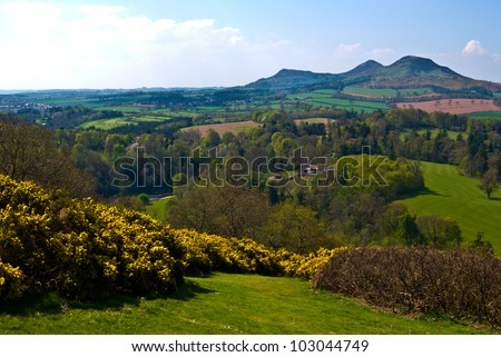 viewpoint called Scott's View near Melrose, Scotland with the Eildon Hills in the distance