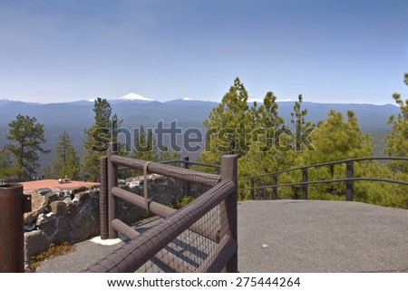 Viewpoint from top of Lava Butte in Central Oregon. - stock photo
