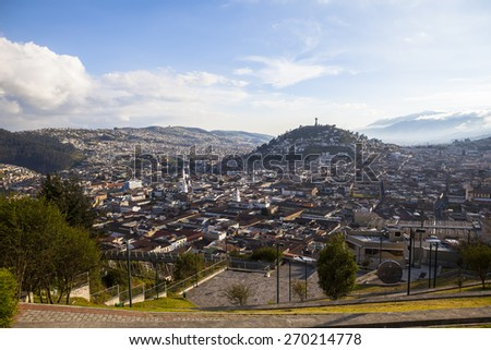 Viewpoint of the city of Quito in the district of San Juan. Shown to Panecillo with Madonna and colonial town. - stock photo