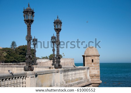 Viewpoint of the mall in Cadiz - stock photo