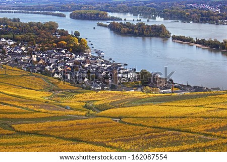 Viewpoint of the Rhine Valley, Ruedesheim, Germany - stock photo